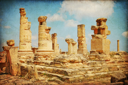 Archaeological site in Africa, the Agora of Cyrene in Libya                              photo