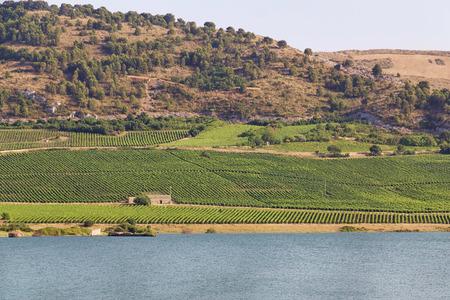 Panorama of Lake Arancio, located in Sambuca di Sicilia