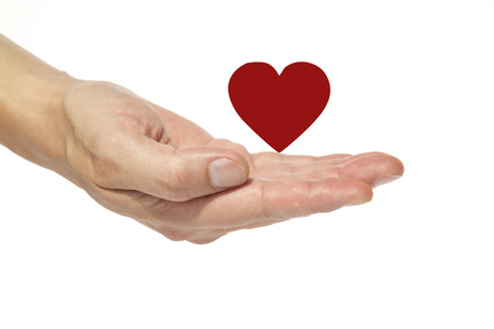 Male hand holding a red heart on a white  photo