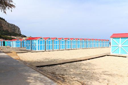 Beach change cabins at Mondello seaside, Sicily Stock Photo - 27166813