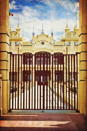 mondello: Edificio Art Nouveau Style Stabilimento Balneare Charleston del 20esimo secolo alla spiaggia di Mondello a breve di Palermo, in Sicilia, Italia