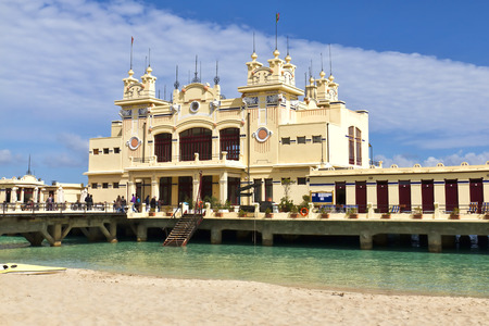 Art Nouveau Style building Stabilimento Balneare Charleston from the early 20th century at the Beach of Mondello in the near of Palermo in Sicily, Italy