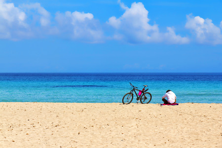 Relax on the beach, springtime in Mondello, Palermo, Sicily