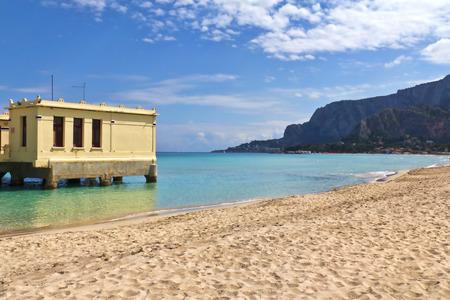 Relax on the beach, springtime in Mondello, Palermo, Sicily photo