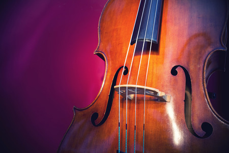 Close-up of double bass, wooden musical instrument that is played with a bow