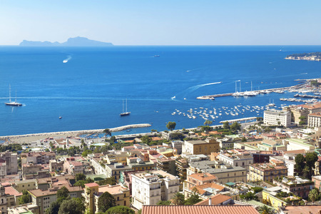 Panorama of Naples, view of the port in the Gulf of Naples, the Egg Castle, and Mount Vesuvius photo