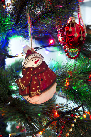 Beautiful Christmas ornaments on the Christmas tree photo