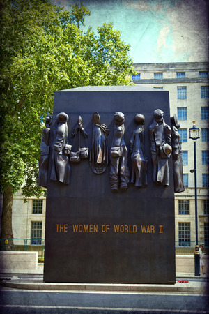 alan: LONDON, UK - July 28, 2010: The Monuments to the Women of World War II and field marshal Alan Francis Brooke on March 30, 2006 in London, UK. The clothes symbolize different jobs women undertook