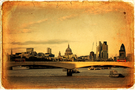 willis: Panorama of London, Waterloo Bridge and skyscrapers of the City, the River Thames