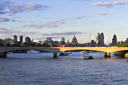 Panorama of London, Waterloo Bridge and skyscrapers of the City, the River Thames photo