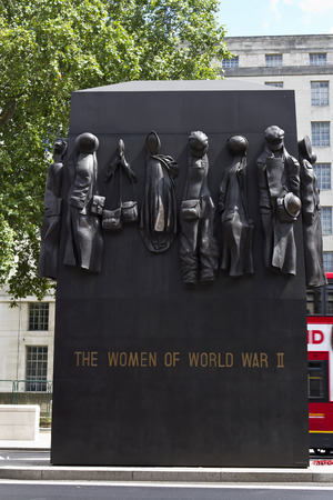 different jobs: LONDON, UK - July 28, 2010: The Monuments to the Women of World War II and field marshal Alan Francis Brooke on March 30, 2006 in London, UK. The clothes symbolize different jobs women undertook