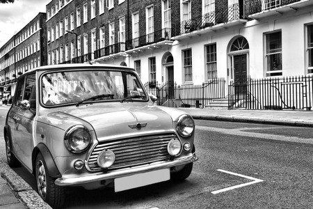 mini: Classic British car on the streets of London Editorial