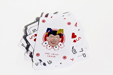 The Jolly Joker. Playing card on a white background