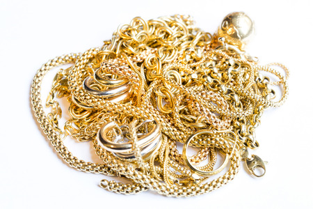 Closeup of yellow gold jewelery