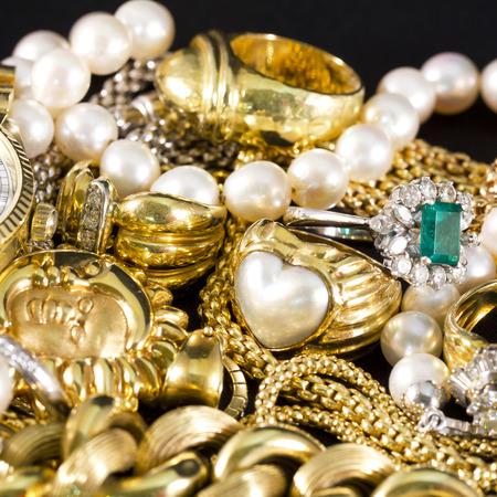 precious stones: Closeup of gold jewelery with precious stones Stock Photo
