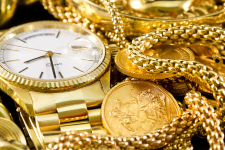Jewelry, gold, necklaces, rings, bracelets, watch, wealth  Stock Photo