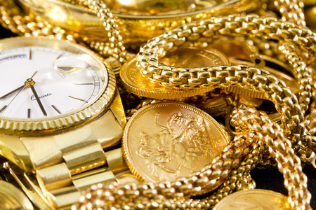 Jewelry, gold, necklaces, rings, bracelets, watch, wealth  Banco de Imagens
