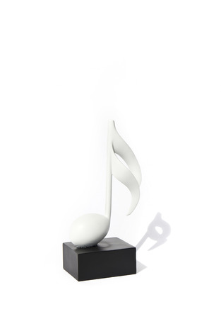 melodies: Piece of furniture, statue, musical note on a white background