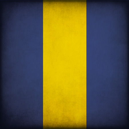 barbadian: Vintage style. Grungy Flag of Barbados