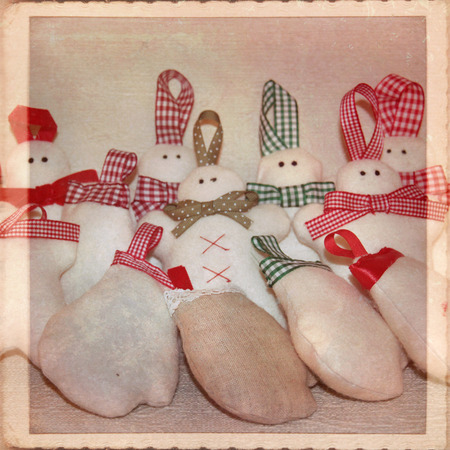 Snowmen fabric - Christmas decorations photo