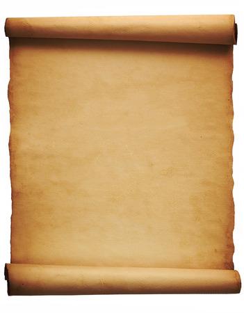 Oude uitstekende perkament op een witte achtergrond