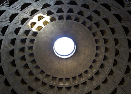 Interior of Rome Pantheon with the famous ray of light from the top photo
