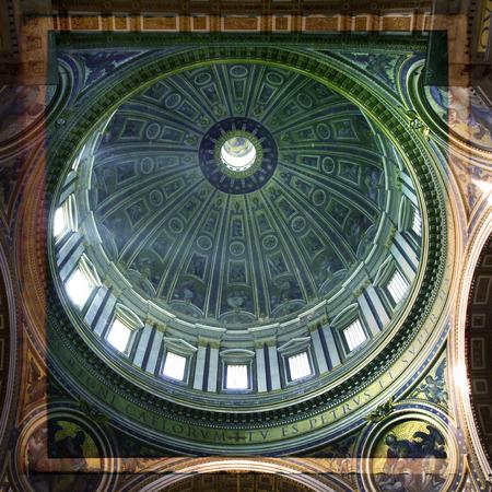 italian fresco: St. Peters Basilica, St. Peters Square, Vatican City. Indoor interior.