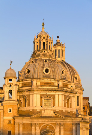 Churches of Santa Maria di Loreto, of the Most Holy Name of Mary at the Trajan Forum and Trajans Column in Rome, Italy.