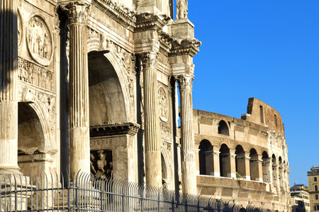 constantine: Arch of Constantine (Arco di Costantino), a triumphal arch in Rome, located between the Colosseum and the Palatine Hill Stock Photo