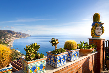 sicily: Coastline Taormina, Sicily, Italy Stock Photo