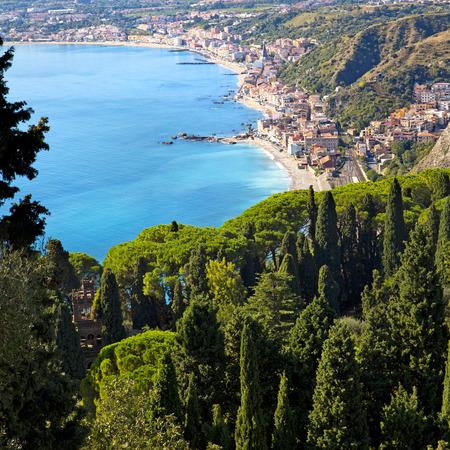 Coastline Taormina, Sicily, Italy Imagens