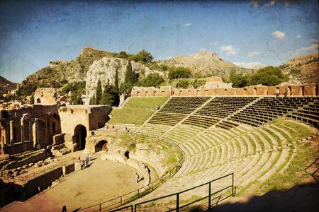 vulcano: Ruins of the Greek Roman Theater, Taormina, Sicily, Italy Stock Photo