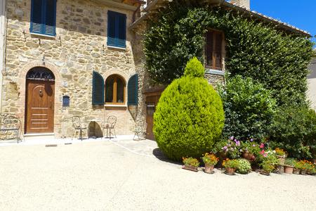 montalcino: Lovely tuscan street, Montalcino, Italy Stock Photo