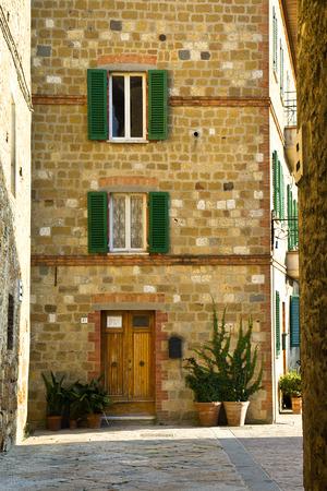 Street view in Pienza village. Tuscany, Italy.   photo