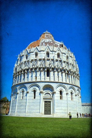 Piazza dei Miracoli complex with the leaning tower of Pisa, Italy photo