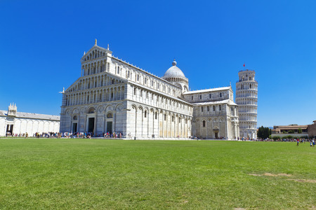 piazza dei miracoli: Piazza dei Miracoli complex with the leaning tower of Pisa, Italy Stock Photo