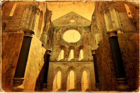 The ancient Abbey of San Galgano is a mirable example of romanesque architecture in Tuscany, Italy photo
