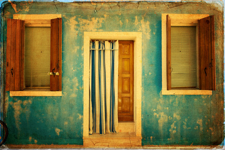 Colorful houses taken on Burano island , Venice, Italy photo