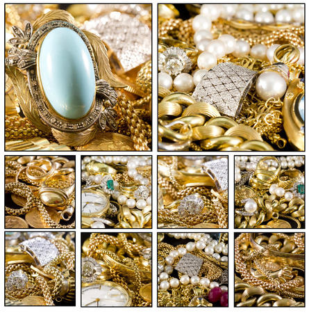 Close up. Collage of a beautiful gold jewels photo