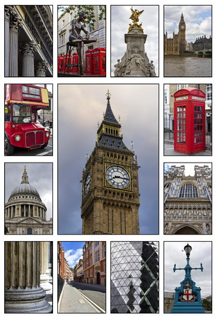 Collage. Beautiful landscapes and atmospheres of London  photo