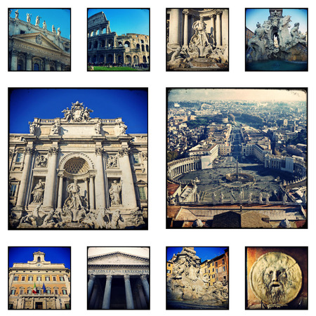 Collage. Beautiful landscapes and atmospheres of Rome  photo