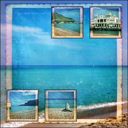 mondello: Collage. Bei paesaggi e atmosfere di Mondello, Palermo Archivio Fotografico