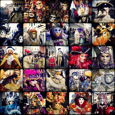 Carnival of Venice, beautiful masks at St. Marks Square. Collage  photo