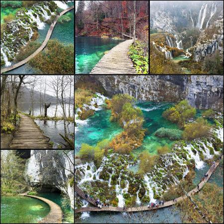 atmosfere: Collage. Bei paesaggi e atmosfere di Plitvize, Parco Nazionale