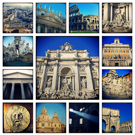 Collage. Beautiful landscapes and atmospheres of Rome