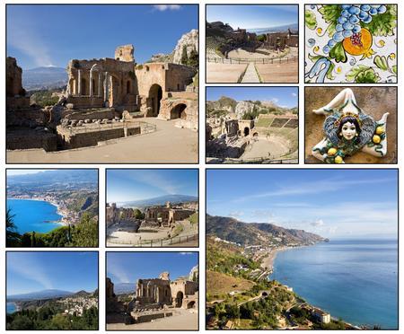 atmosfere: Collage. Bei paesaggi e atmosfere di Taormina, Sicilia Archivio Fotografico