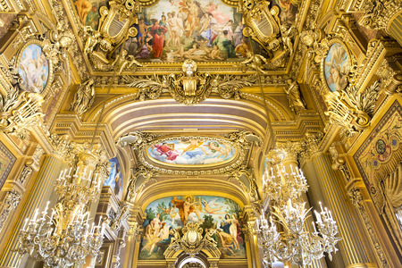 palais garnier: PARIS, August 4, 2014: Interior view of the Opera National de Paris Garnier, France.  It was built from 1861 to 1875 for the Paris Opera house