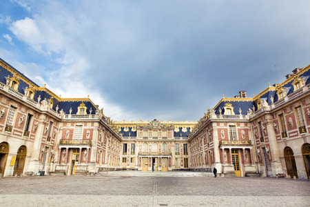 Outside view of Famous palace Versailles. The Palace Versailles was a royal chateau. It was added to the UNESCO list of World Heritage Sites. Paris, France 에디토리얼