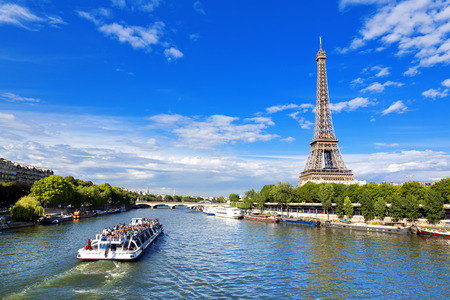 Paris, the beautiful view of the Eiffel Tower on a summer day