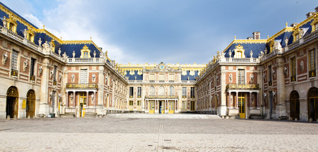 french: Outside view of Famous palace Versailles. The Palace Versailles was a royal chateau.  Stock Photo
